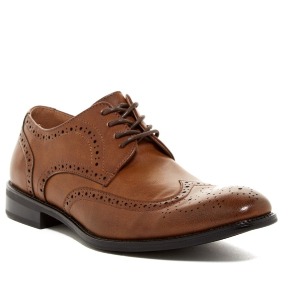 Robert Wayne Men's Brown Leather Wingtip Oxford